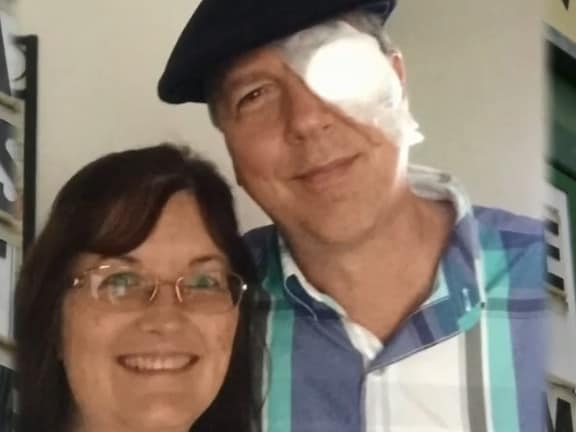 Rev Dunn and his wife following surgery on his right eye. Picture: WCHS