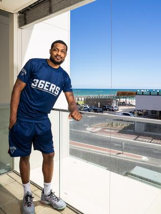 At home with Adelaide 36ers' player Ramone Moore at his beachside apartment. Picture: Nick Clayton.