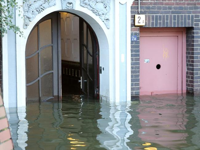 Flood waters rise at Hamburg's Fish Market in Germany. Picture: AFP