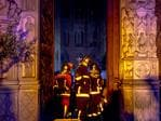 Firefighters are seen inside famed Notre-Dame Cathedral assessing the damage caused by fire on April 15, 2019 in Paris, France. Photo by Omar Havana / Getty Images