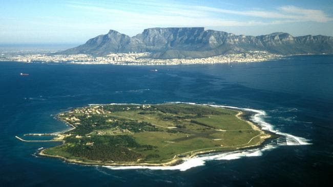 Aerial view of Robben Island with Cape Town and Table Mountain in the background, South Africa. Picture: Alamy.