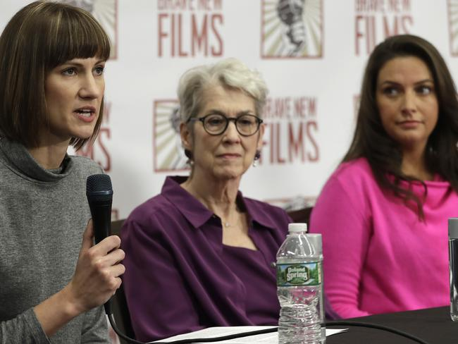 Rachel Crooks, left, Jessica Leeds, and Samantha Holvey attend a news conference in New York to discuss their accusations of sexual misconduct against Donald Trump. Picture: Mark Lennihan)/AP