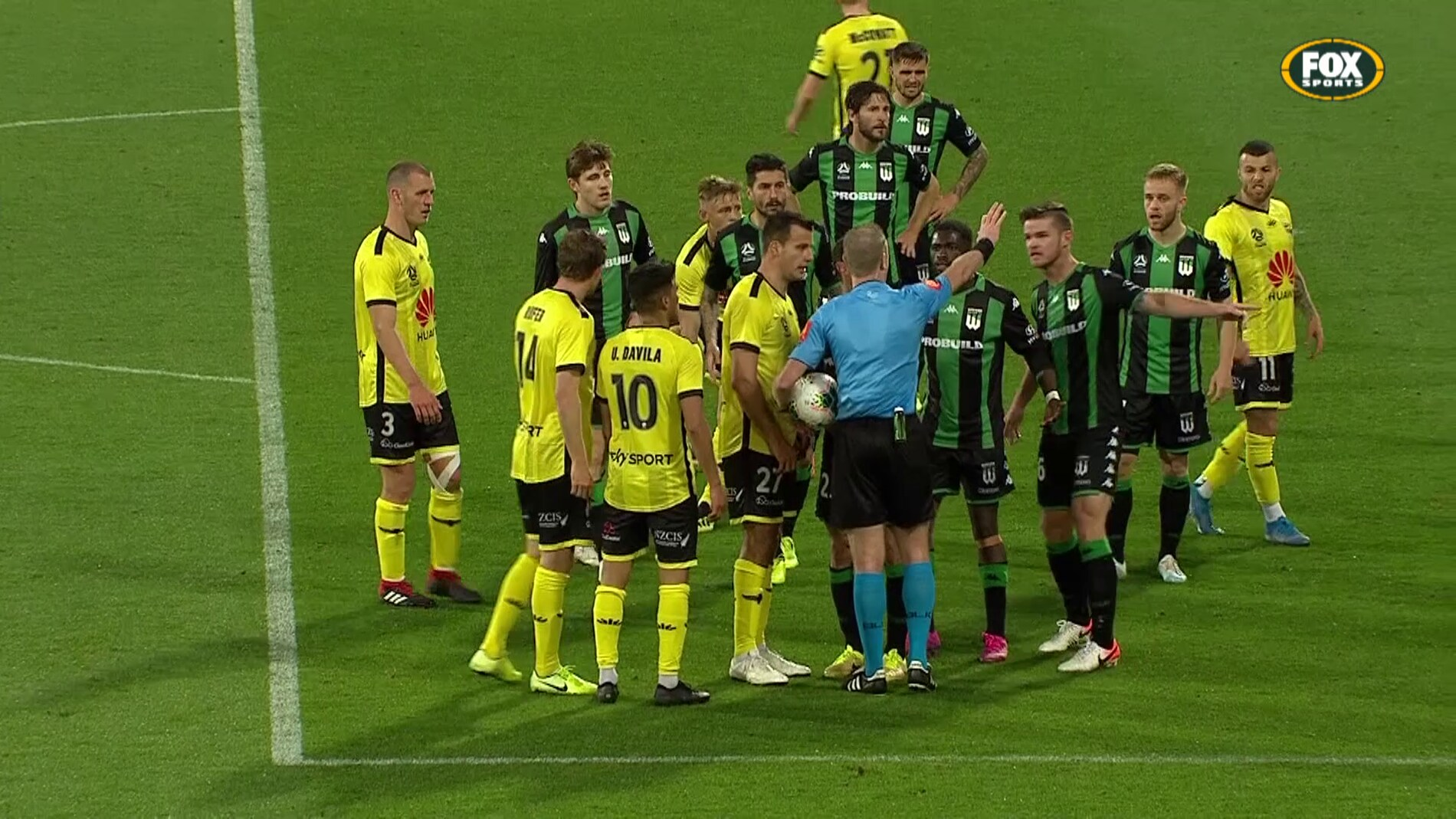 Wellington Phoenix were awarded an indirect free kick, but it should have been a penalty.