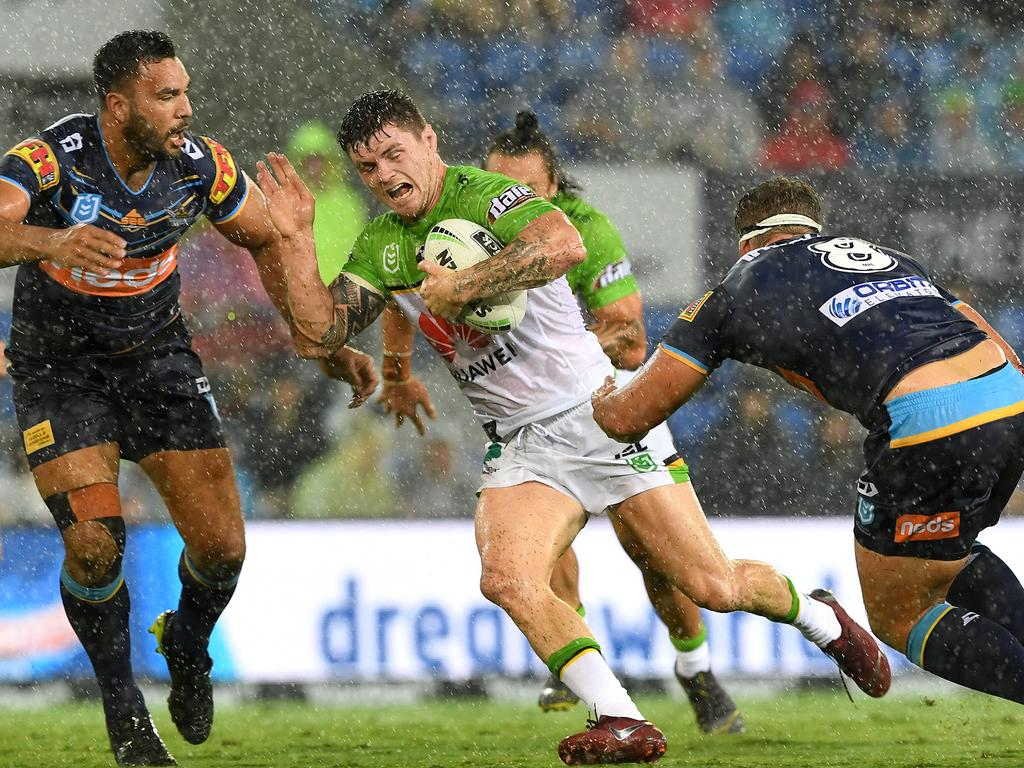 John Bateman of the Raiders during the Round 1 NRL match between the Gold Coast Titans and the Canberra Raiders at CBus Super Stadium on the Gold Coast, Sunday, March 17, 2019. (AAP Image/Dave Hunt) NO ARCHIVING, EDITORIAL USE ONLY