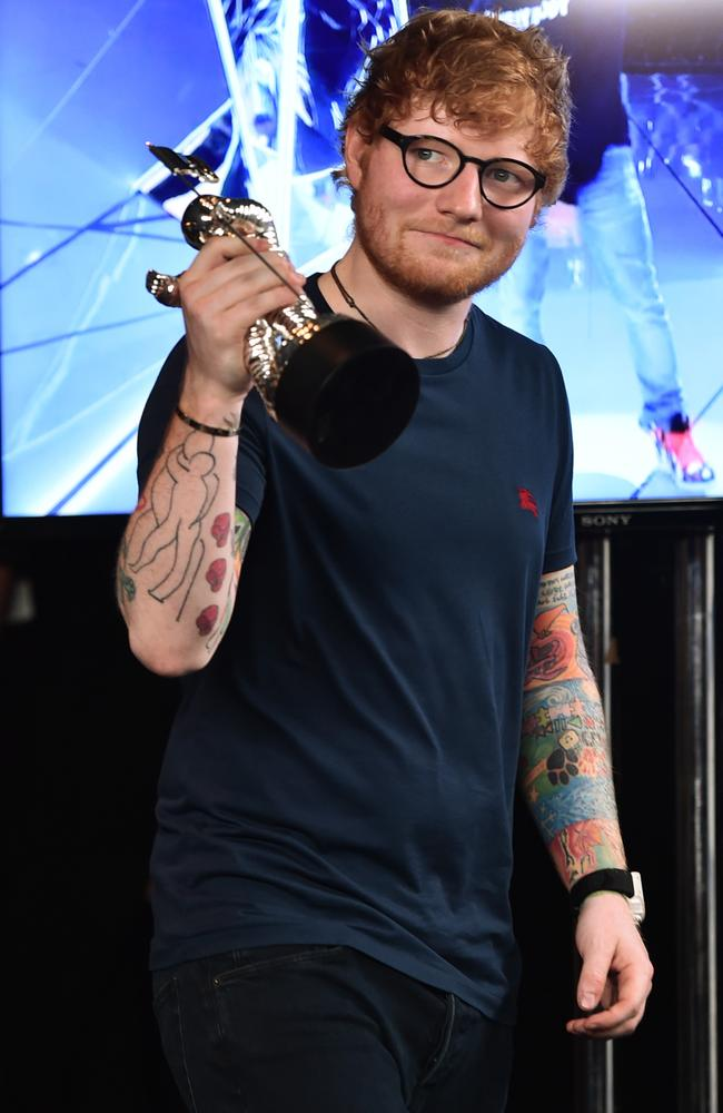 Ed Sheeran told fans via social media he was waiting on further medical advice to see if the injury would affect any upcoming shows. Picture: AFP/Getty Images/Alberto E Rodriguez