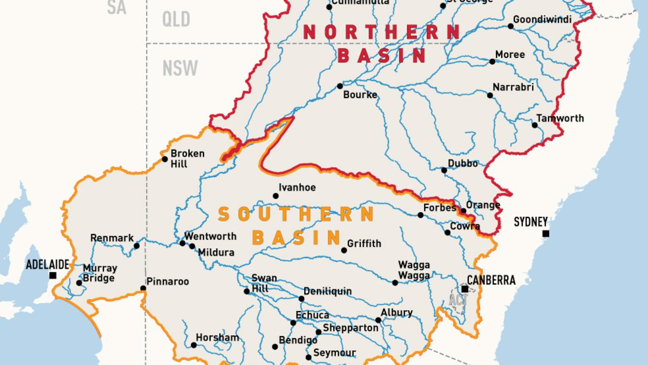 Part of the Murray-Darling Basin, outlined in red and orange. Picture: supplied