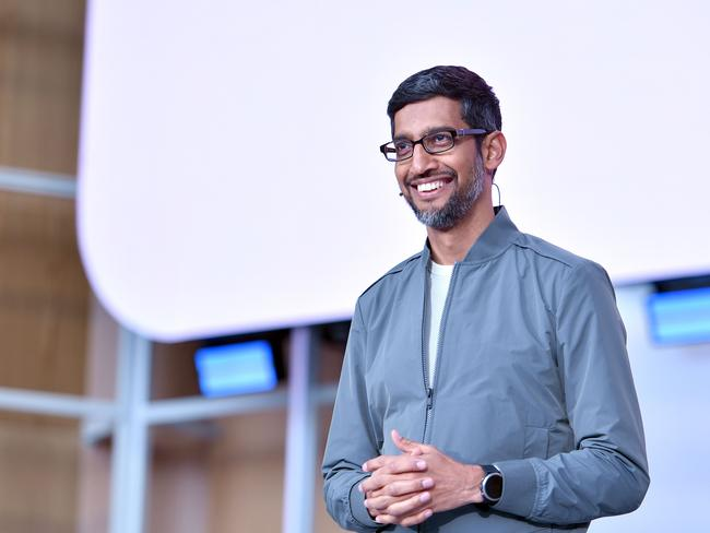 Google CEO Sundar Pichai speaks during the Google I/O 2019 keynote session at Shoreline Amphitheatre in Mountain View, California. Picture: Josh Edelson