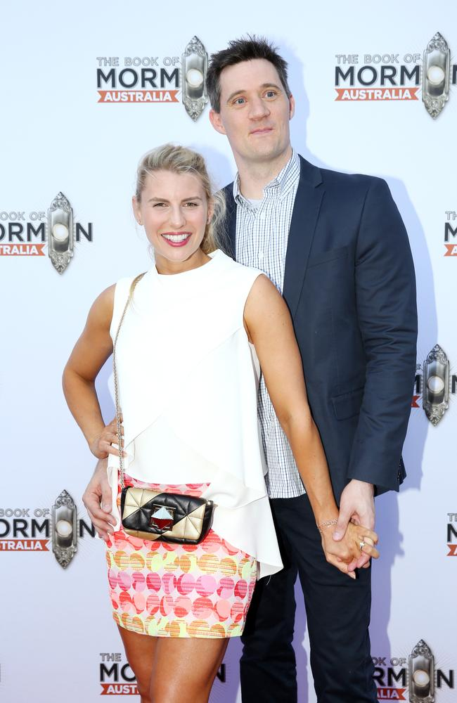 Tiffiny Hall and Ed Kavalee at The Book of Mormon premiere in Melbourne. Picture: Ian Currie