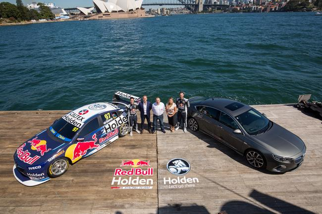 Jamie Whincup, Red Bull managing director Jason Sargent, team owner Roland Dane, Pinwill, and Shane van Gisbergen. Pic: Triple Eight