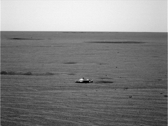 Image of a strange, metallic looking object from the Mars Opportunity rover. Picture: NASA