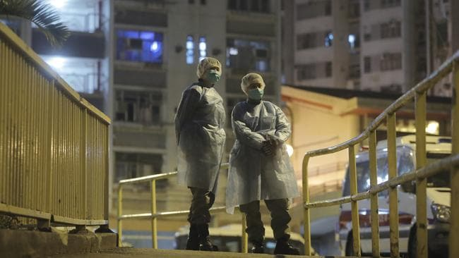 More than 100 people were evacuated from the Cheung Hong Estate in Hong Kong. Picture: AP/Kin Cheung