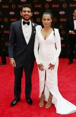 Cyril and Shannyn Rioli arrive on the red carpet at the 2016 Brownlow Medal Count. Pic: Michael Klein