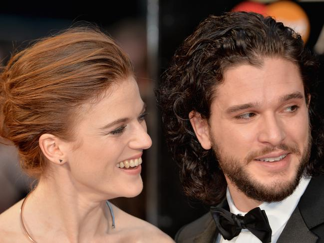 It wasn't all laughs and smiles when Kit blew the GoT ending for his wife, Rose. Picture: Anthony Harvey/Getty Images