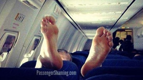 If you take your shoes off, you might want to make sure they don't hit the floor. Picture: Passenger Shaming