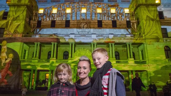 The Snugglepot and Cuddlepie projection on Custom House is one of the most popular. Picture: Steve Christo.