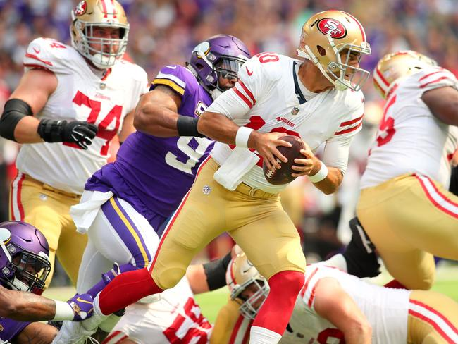 Defeated! 49ers quarterback Jimmy Garoppolo isn't used to losing. Picture: AFP