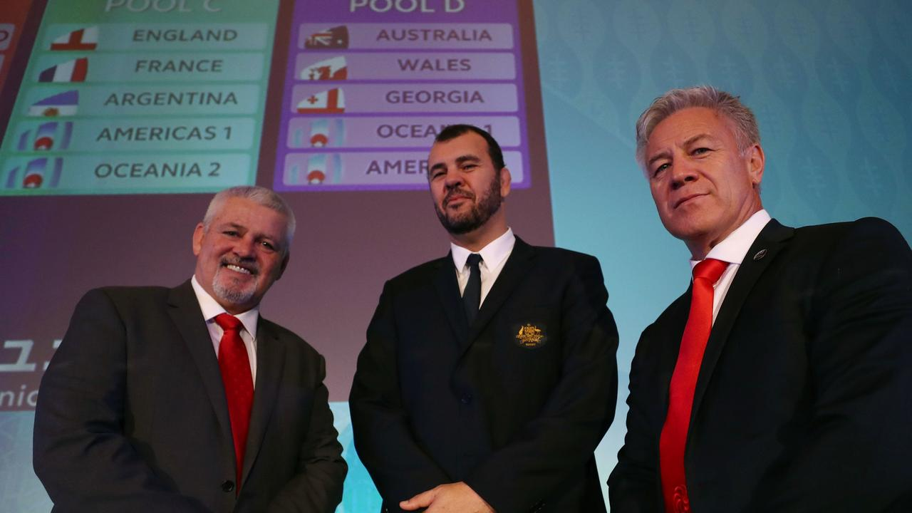 Warren Gatland, Michael Cheika and Milton Haig after the Rugby World Cup pool draw.