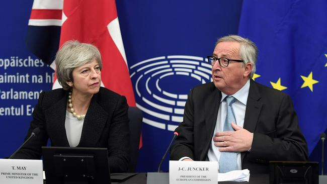 British Prime Minister Theresa May and European Commission President Jean-Claude Juncker during a press conference following their meeting in Strasbourg, on March 11, 2019. Picture: Frederick Florin/AFP