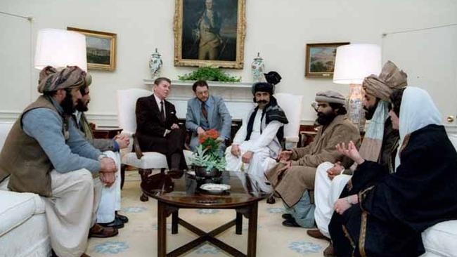 President Ronald Reagan meets with the Afghan Mujahideen in the Oval Office in 1983. Picture: US Government