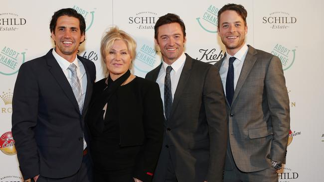 Andy Lee, Deborra-lee Furness, Hugh Jackman and Hamish Blake pictured together in 2015. Picture: Julie Kiriacoudis