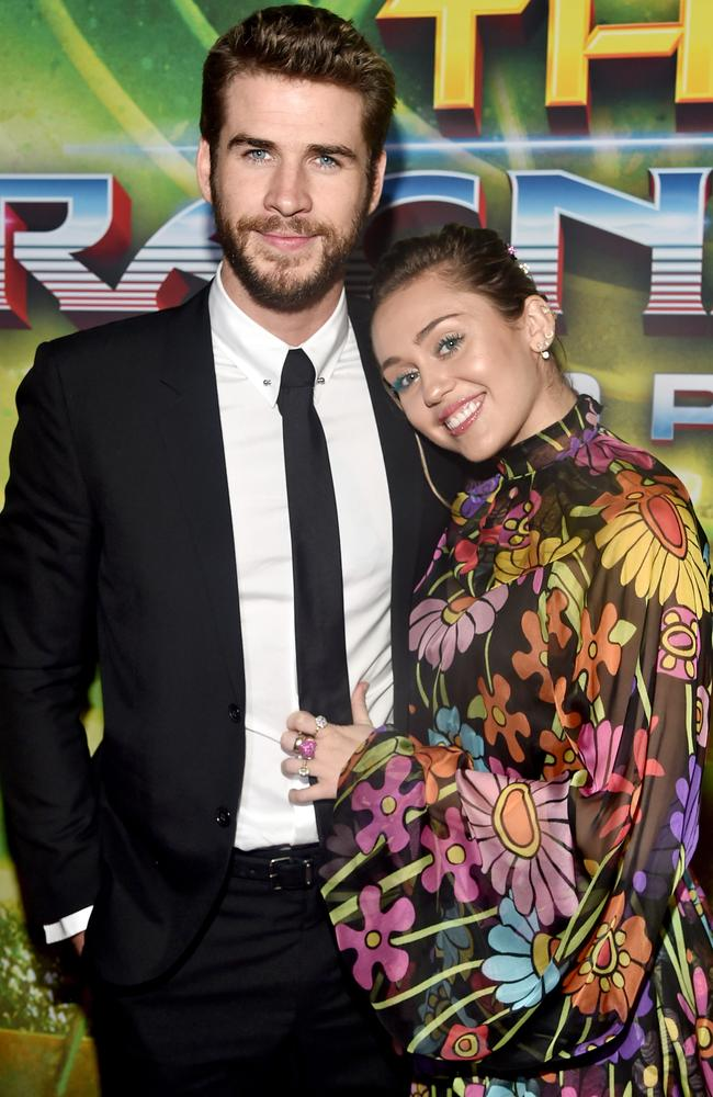 The happy couple pose for photographer at the Los Angeles Thor: Ragnarok premiere. Their last red carpet appearance together was in 2013. Picture: Alberto E. Rodriguez/Getty Images for Disney