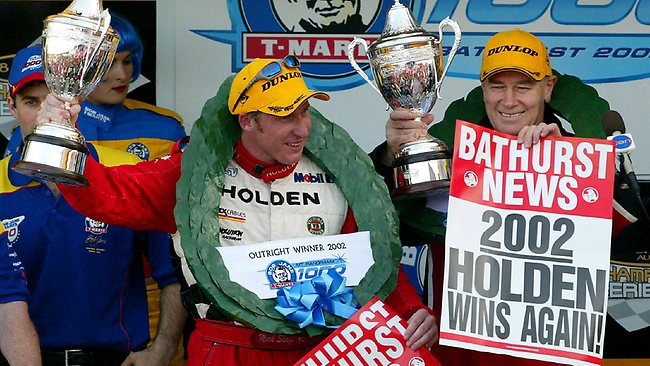 Jim Richards (right) won Bathurst seven times. While his famous 'You're a pack of arseholes' speech in 1992 will never be topped, he probably received a better reception when, again beside Mark Skaife 10 years later, the pair captured a nailbiting win for Holden.