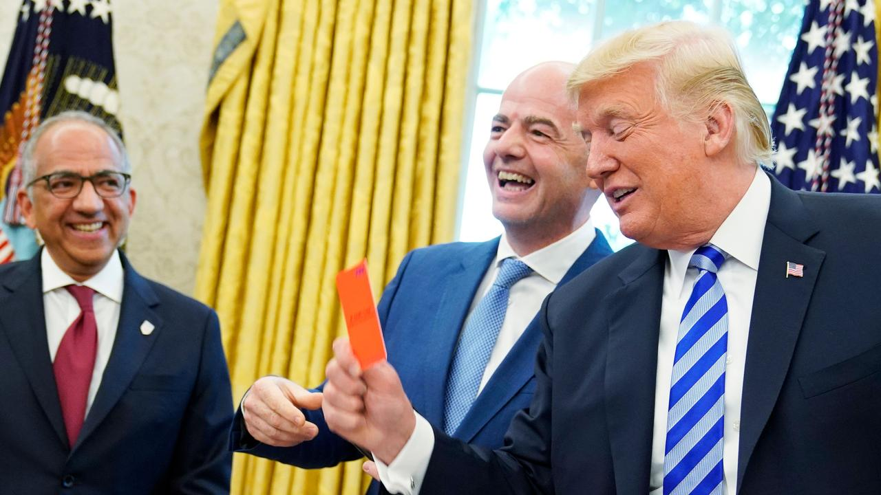 FIFA President Gianni Infantino has a laugh with US President Donald Trump.