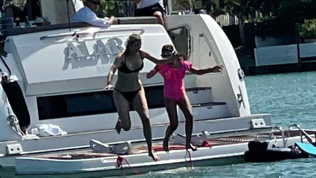 Ivanka and daughter Arabella made a splash this weekend. Picture: Splash News/Media Mode