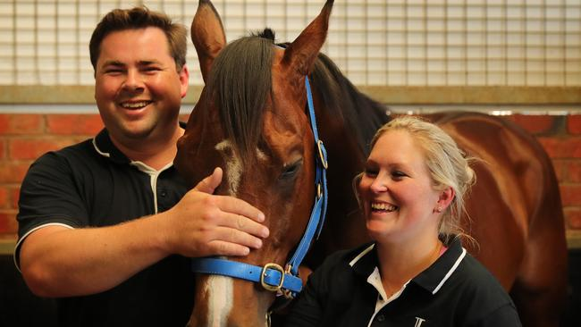 Sydney-based trainers Richard and Laura Litt with rising star Castelvecchio.