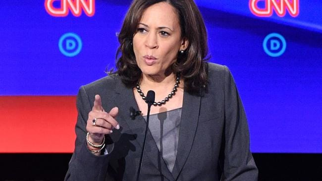 Kamala Harris on the debate stage. Picture: Jim Watson/AFP