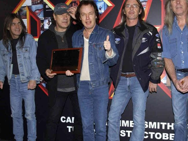 Good old days: ACDC in 2003. From left: Malcolm Young, Brian Johnson, Angus Young, Phil Rudd and Cliff Williams.