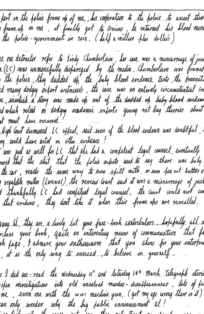 Letters written from his maximum security jail cell reveal an insight into the mind of Australia's worst serial killer, Ivan Milat. Picture: Supplied