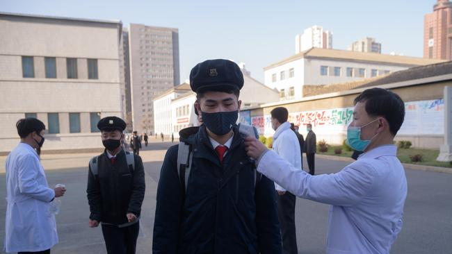 Students are checked for COVID-19 in Pyongyang this week where the North Korean leader has not been out in public for weeks. Picture: Kim Won In