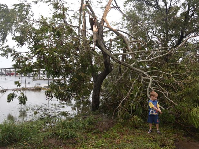 Nate Sinclair surveys tree damage near the airport. Picture: Geoff Sinclair
