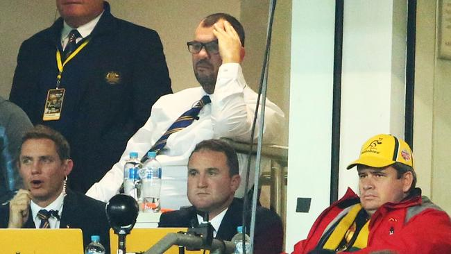 Wallabies coach Michael Cheika looks dejected in the coaches box.