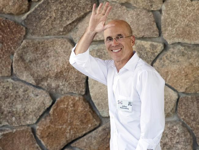 Former Disney chairman Jeffrey Katzenberg waves to photographers at the event. Picture: AFP/Getty/Drew Angerer