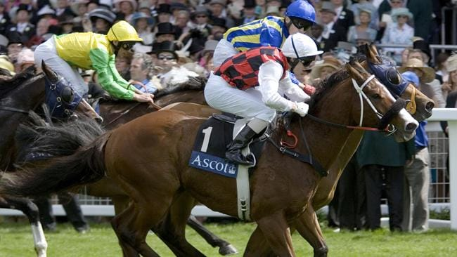 Aussie favourite Takeover Target wins the King's Stand Stakes at Royal Ascot in 2006. Picture: AAP