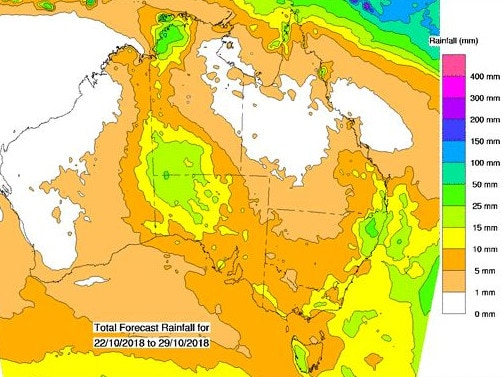 Total forecast rainfall for coming eight days. Picture: Bureau of Meteorology