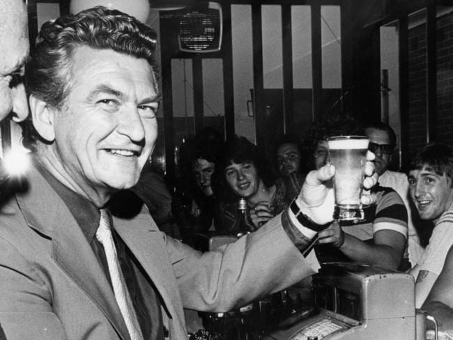 Bob Hawk in a pub in 1978. Picture: Supplied