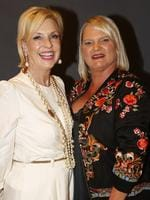 Lorilie Cunningham, of Hamilton, and Kirsten McGinty, of Clayfield, at the Y Women lunch for Youngcare. Picture: Just Photography