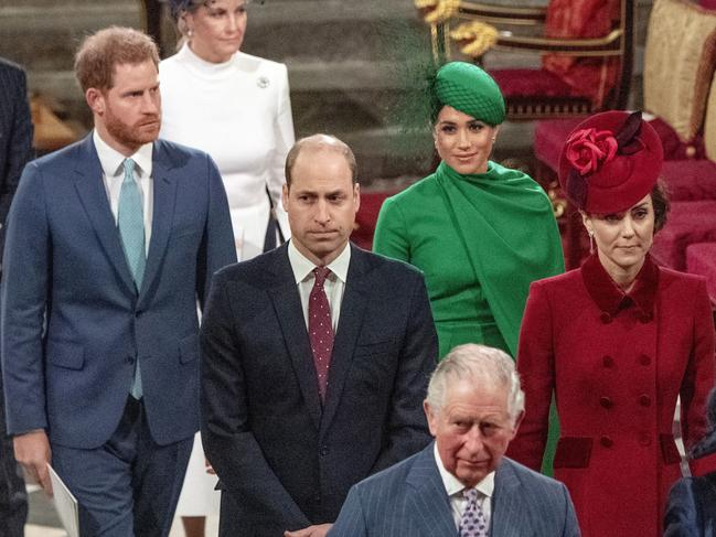 Harry and Meghan with the Duke and Duchess of Cambridge and Prince Charles at the Commonwealth Day service earlier this month. Picture: Phil Harris/AP