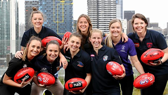 Nicola Stevens (far left) with other top-10 draft picks. Picture: Tim Carrafa