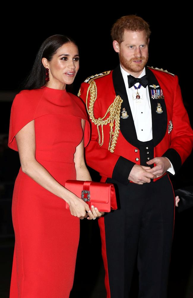 Meghan and Harry at one of their final events the Mountbatten Festival of Music at the Royal Albert Hall in London. Picture: Simon Dawson/AFP