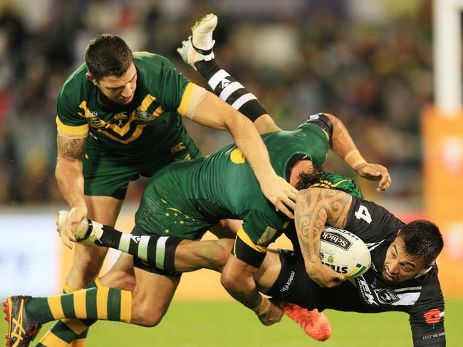 Expect to see fewer ads for betting agencies during live sport, such as the NRL Anzac Test. Picture: Mark Evans