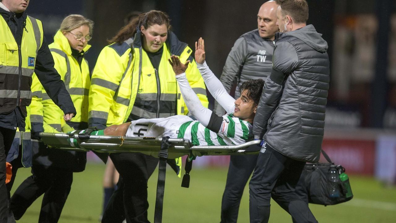 Celtic's Daniel Arzani goes off injured