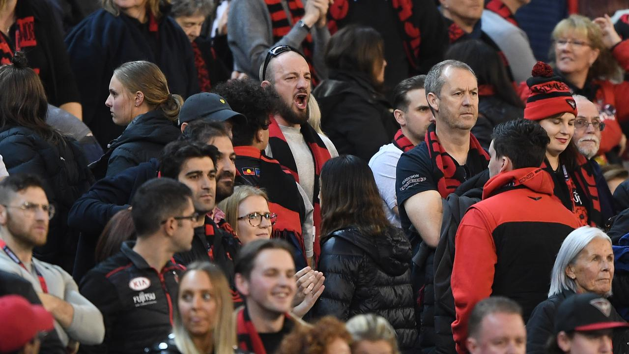 Essendon supporters after Thursday's Anzac Day blockbuster at the MCG.