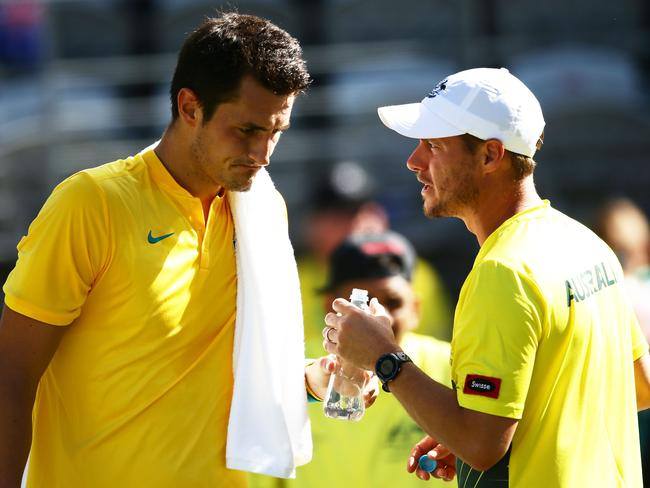 Bernard Tomic and Lleyton Hewitt. (Photo by Matt King/Getty Images)