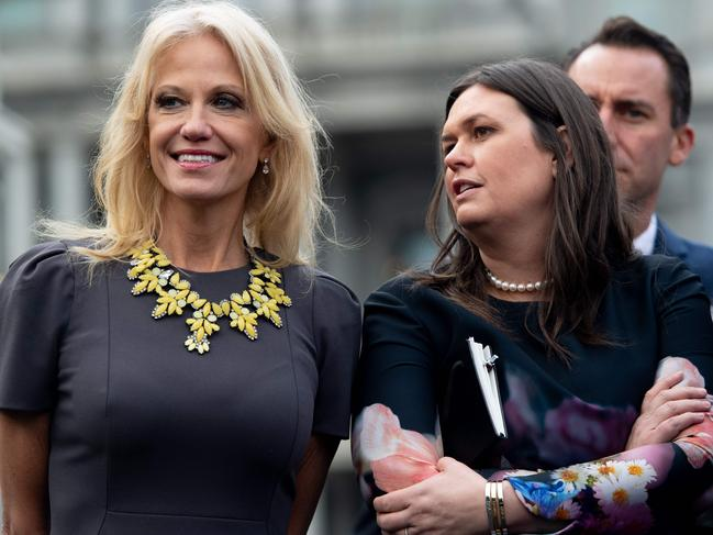 White House Press Secretary Sarah Sanders (R) and White House Counselor Kellyanne Conway. Picture: AFP