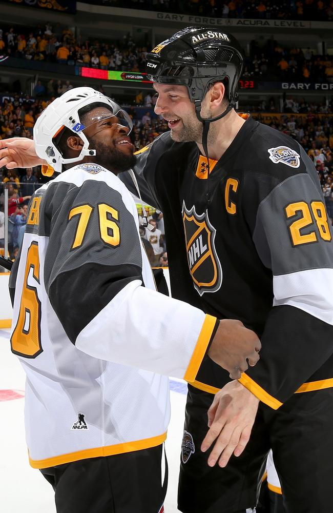 P.K. Subban #76 of the Montreal Canadiens greets John Scott #28 of the Arizona Coyotes after the 2016 Honda NHL All-Star Final Game.