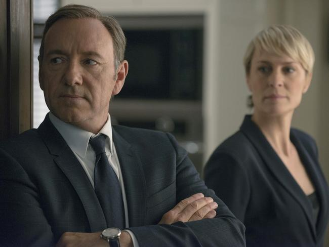 Who betrayed me ... Kevin Spacey as Francis Underwood and Robin Wright (Claire Underwood) in a scene from House of Cards. Picture: Supplied